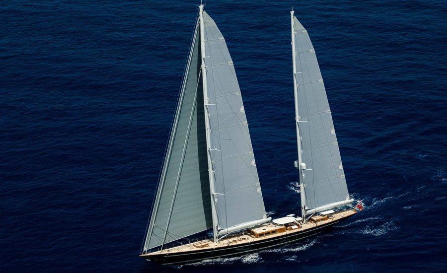Royal Huisman sailing yacht Aquarius filmed underway
